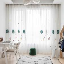 Cartoon Outer Space Rocket Embroidered Voile Curtain For Kids Bedroom Living Room Sheer Window Drapes Luxury Children Tulle 20d3 Curtains Aliexpress