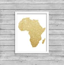 Gold Glitter Africa Continent Wall Art Print By Paperbloomshop Map Wall Art Free Printable Wall Art Wall Art Prints