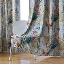 Amazon Com Kotile Floral Design Print Short Window Drapes With Colorful Tree Curtain For Kid S Room 2 Panels 63 Inches Length Grommet Digital Printing Soft Room Darkening Blackout Curtains For Bedroom Green Kitchen