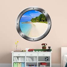 East Urban Home Tropical Beach Porthole 3d Ocean Wall Decal Reviews Wayfair