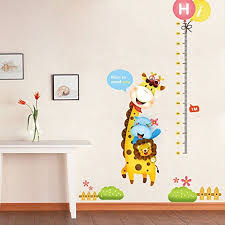 Homefind 39 W X 70 H Removable Animal Height Measurement Wall Stickers Giraffe Growth Chart Ruler Wall Decals Kids And Children Room Nursery Wall Decals Home Decor Nice To Meet You Baby
