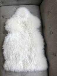 genuine sheepskin rug white ivory