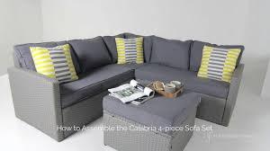 grey rattan outdoor 4 piece sofa set