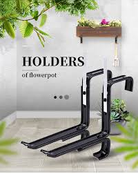 1pair Flowerpot Rack Planter Box Bracket Wall Adjustable Flower Pot Holder Stand Fence Rail Plant Bracket For Garden Apartment Plant Cages Supports Aliexpress