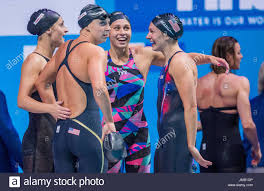 Budapest, Hungary. 27th July, 2017. The USA team Leah Smith, Katie ...