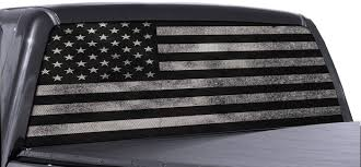 Amazon Com Fgd Brand Truck Rear Window Wrap Black White Distressed American Flag Perforated Vinyl Decal Arts Crafts Sewing
