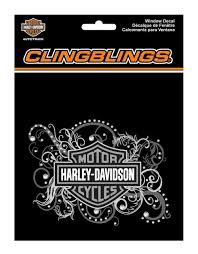 Harley Davidson Bar Shield Filigree Cling Bling Silver Window Decal Cg1120 Wisconsin Harley Davidson