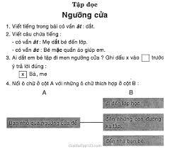 Giải vở bài tập Tiếng Việt lớp 1 tập 2 Tập đọc: Ngưỡng cửa