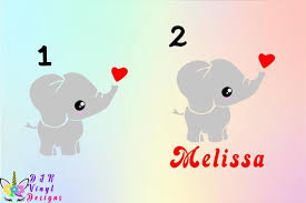 Cute Elephant Decals Vinyl Decal Kids Room Yeti Decal Glass Etsy