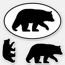 Black Bear Silhouettes Wildlife Vinyl Sticker Set Zazzle Com