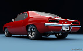red camaro 1969 muscle car wallpaper