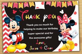 Mickey Y Minnie Mouse Gracias Tarjeta Gracias Tarjeta De Mickey