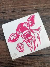 Cow Decal Cow Sticker Flower Decal Cow With Flower Car Etsy