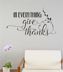 In Everything Give Thanks Thanksgiving Decor Vinyl Decal Wall Stickers Letters Words