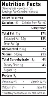 tyson en nuggets nutrition facts