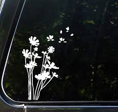 Amazon Com Flowers In The Wind Car Vinyl Decal Sticker 5 25 W X 7 5 H White Arts Crafts Sewing