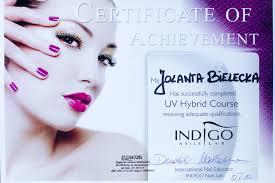 Certyfikat Z Ukonczenia Szkolenia W Indigo Nails Lab Uv Hybrid