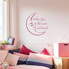 Amazon Com I Love You To The Moon And Back Wall Decals Quote Moon Decal Kids Nursery Vinyl Stickers Home Bedroom Decor Aa146 28 Tall X 28 Wide Home Improvement