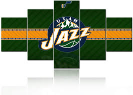 Amazon Com Nba All Star Game Pictures For Living Room Canvas Wall Art Native American Basketball Utah Jazz Logo Painting Modem Artwork For Wall Home Decor Poster Prints Wooden Frame Ready To Hang