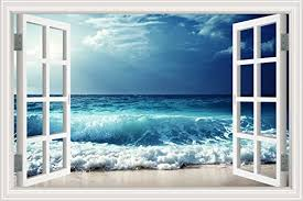 Amazon Com Greathomeart 3d Wall Decals Opening Window Beach Sea Wave Landscape Art Removable Seascape Vinyl Stickers Mural Poster For Living Room Decoration 32 X48 Home Kitchen