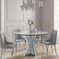 round mirrored dining table 4 chairs