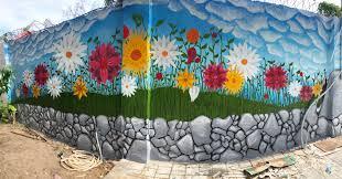 Flower Wall Mural Outside In My Garden Street Art Flower Mural Garden Rocks Painting Art Creative Colorful Wall Stree Flower Mural Mural Wall Murals