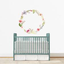 Pink And Gold Floral Wreath Individual Wall Decal Project Nursery