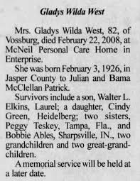 gladys wilda west obituary - Newspapers.com