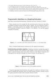 trigonometric identities on a graphing