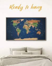 Framed Pushpin Blue World Map Wall Art Canvas At Texelprintart