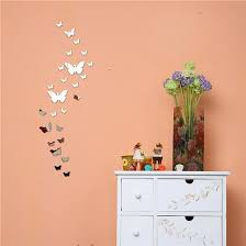 Shop Silver Bling Bling Acrylic 3d Butterfly Design Mirror Effect Wall Sticker Diy For Artistic Living Room Online From Best Furniture And Decor On Jd Com Global Site Joybuy Com