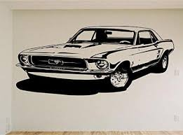 Mustang Race Car Auto Wall Decal Stickers Murals Boys Room Man Cave