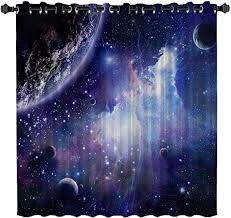 Amazon Com Blackout Curtains Kids Room Darkening Curtains Space Cosmic Sky Stars In Galaxy Nebula Cosmos 52 W X 72 L Thermal Insulated Grommet Top Window Curtains For Bedroom Home Kitchen