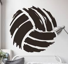 Drawing Brush Volleyball Wall Sticker Tenstickers