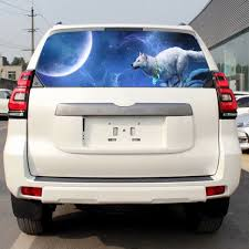 Car Rear Windshield Sticker Night Sky Running White Wolf Totem Truck Suv Car Decals D 902 Foreign Trade New Wolf Howling Snow Moon Sky Galaxy Car Suv Car Truck Rear Window Car Sticker