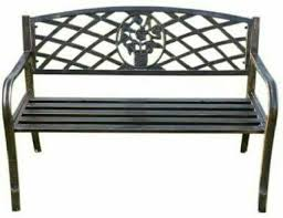 olive grove metal garden bench with