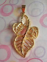 14k yellow gold plated big pendant for