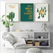 green cactus wall art canvas painting