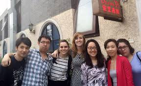 Meghan Lewis, China lewis yale summerabroad Meghan Lewis, center, with  colleagues in Beijing.