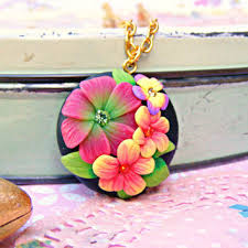 orange pink summer necklace polymer