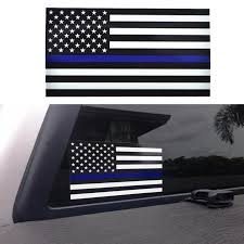 Thin Blue Line Usa Flag Car Decal Prw
