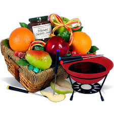 fruit chocolate fondue gift basket