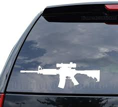 Amazon Com Ar 15 Assault Rifle Scope Decal Sticker Car Truck Motorcycle Window Ipad Laptop Wall Decor Size 14 Inch 36 Cm Wide Color Matte White Home Kitchen