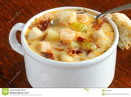 Seafood chowder with bacon stock image ...