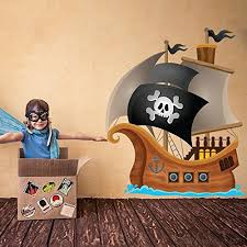 Pirate Wall Decal Jolly Roger Pirate Ship Wall Sticker Kids Bedroom Home Decor Available In 8 Sizes Medium Digital Y49cwnfo7