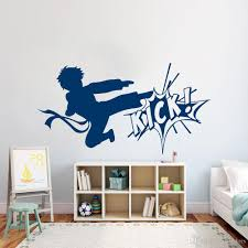 Karate Boy Vinyl Wall Decal Fighting Kick Martial Arts Wall Stickers Modern Sport Home Decoration Living Room Wushucentre Wallpaper Stickers For Bedrooms Walls Decals From Joystickers 11 67 Dhgate Com