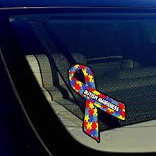 Amazon Com Autism Awareness Puzzle Ribbon Auto Window Bumper Sticker Decal 5 Inches Long Automotive