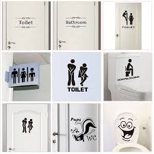Wc Toilet Entrance Sign Door Stickers For Public Place Home Decoration Creative Pattern Wall Decals Diy Funny Vinyl Mural Art In 2020 Door Stickers Diy Wall Decals Entrance Sign