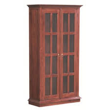 teak glass display cabinet low