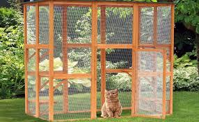 Amazon Com Pawhut 71 X 39 X 71 Large Wooden Outdoor Cat Enclosure Catio Cage With 6 Platforms Pet Supplies